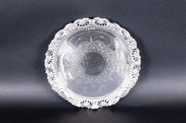 Victorian - Fine and Ornate Silver Circular Salver with Embossed Garlands of Flowers Shaped