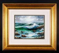 Bruno Di Giulio 1943 'Mareggiata Sea Storm' oil on canvas. Signed. Mounted & framed behind glass.