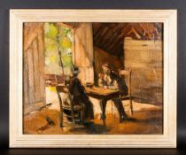 German Late 19th Century Impressionist Study of a Barn Yard Scene with Old Gents Plucking Chickens