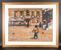 John Mackie 1953 - Large Continental Sunlit Terrace with Figures. Pastel. Signed and Dated 97. 23