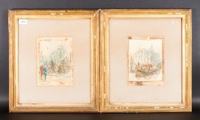 Circle of Sir John Gilbert 1817 - 1897 Pair of Watercolours. 1/ Queen Victorias Barge On The River
