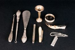 A Collection of Antique Hallmarked Silver Items ( 9 ) Items In Total. Comprises Edwardian Silver