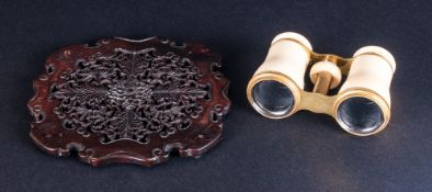 Pair Of Ivory/Bone Lacquered Brass Opera Glasses, Unmarked, Together With A Chinese Rosewood
