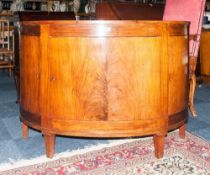 Walnut D Shaped Drinks Cabinet, Central Cupboard Space With Single Shelf Between 2 Smaller Side