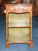 Early 20thC Small Walnut Bookcase, 2 Drawers Above A Single Shelf, Raised On Bracket Feet, Height 30