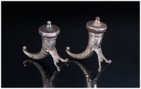 Norwegian Pair of Sterling Silver Viking Horn Cornucopia Shaped Salt and Pepper Pots. Marked with