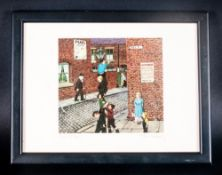 Tom Dodson Pencil Signed & Titled Postcard Size Colour Print 'Mill Street' mounted & framed behind