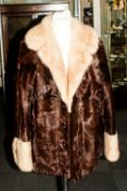 Ladies Pony Hide Jacket, with blonde mink collar & cuffs. Fully lined with half back belt