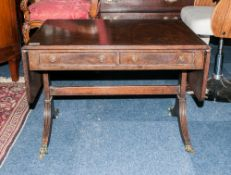 Early To Mid 20thC Mahogany Sofa Table With 2 Drawers Raised On Reeded Legs With Cast Claw Terminals