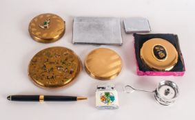Four Various Powder Compacts including a boxed Kigu, an Art Deco chromed cigarette case and small