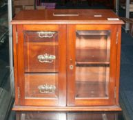 Early 20thC Mahogany Smokers Cabinet, 2 Glazed Doors With 3 Fitted Drawers And Shelf, Presentation