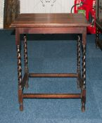 A Small 1920's Oak Occasional Side Table with barley twist and turned legs. Stands 28.5 inches