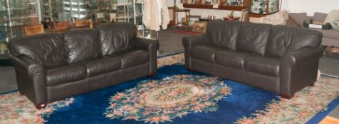 Pair Of Three Seater Italian Leather Couches - High Quality