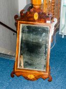 Early To Mid 19thC Mahogany Mirror Of Shaped Form With Shell Inlay And Geometric Inlay Border, 29x17