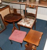 Small Collection Of Furniture Comprising Single Dining Chair, Small Footstool, Magazine Rack/Table