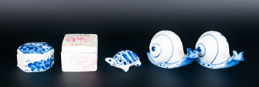5 Pieces Of Oriental Style Trinkets To Include A Snail Salt & Pepper Set, 2 Lidded Boxes And A