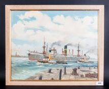 J.A.Drinkwater 20th Century Artist 'Dahomey Palm' Steamship Coming Into Liverpool Docks, oil on