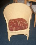 Lloyd Loom Chair Painted Buttercup Colour With Removable Cushion