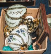 Mixed Lot Comprising 3 Kevin Platt Pictures, 2 Brass Table Lamps, FC Emery Longport China Etc.