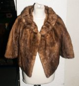 Ladies Light Brown Mink Short Jacket fully lined, hook & loop fastening.