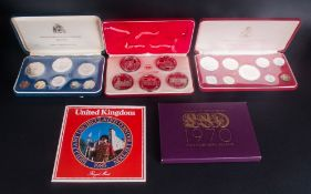 5 Proof Coin Sets Comprising Franklin Mint Commonwealth Of The Bahamas 1974, Tower Mint 1977 Set,
