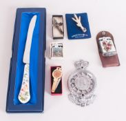 Mixed Lot Comprising Carrick Jewellery Stone Set Scottish Pin, Cross Pendant, Guilloche Enamel