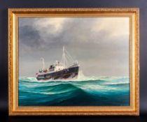 John Crombie British 20th Century Artist Title 'Pilot Cutter Edmund Gardner' oil on board. Signed.