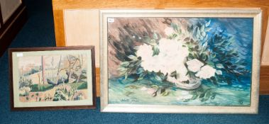 Robert Johnston Pastels, Still Life Floral Bouquet, Signed And Monogrammed, Framed And Glazed, 22
