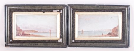Pair of Small Framed Watercolours. Unsigned 9 by 5 inches.