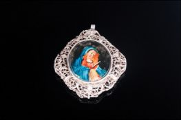 Antique Silver Wired / Open Worked Pendant with Printed Religious Oval Portraits to Centre. 2.25