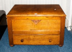 Early To Mid 20thC Golden Oak Blanket Box, Hinged Top Above A Single Drawer, Height 22 Inches, 35x17