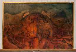 John Farrington Large Oil Painting Stylised Depiction Of Adam And Eve, 37x55 Inches, Signed And
