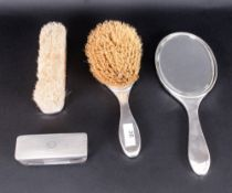 Ladies - Bright Cut 4 Piece Silver Vanity Set. Comprises Hand Mirror, Large Hand Brush, Silver Toped