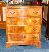 Mid 20thC Walnut Chest Of Drawers Slight Serpentine Front With 4 Long Drawers Raised On Bracket