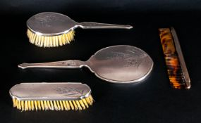 Ladies 1950's Bright Cut Silver 4 Piece Vanity Set with etched floral decoration. Hallmark