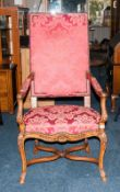 Mid To Late 20thC George III Style Armchair, Carved Walnut Frame With Acanthus And Shell Decoration,