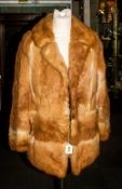 Ladies Coney Fur Jacket, slit pockets, collar with revers, hook & Loop fastening. Damage to lining.