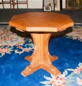 Robert Mouseman Thompson, Early To Mid 20thC Golden Oak Coffee Table, The Octagonal Top Raised On