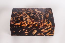 A Vintage Large Tortoiseshell Lidded Hinged Box 3'' in height, 8.25'' in width.