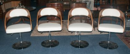 A Quality Set Of 4 Height Adjustable Chrome Wood & Leather Effect Padded Dining/Breakfast Chairs