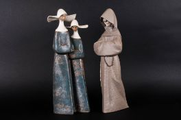 Lladro Gres Figure of a Couple of Nuns. Model Num.2075. Issued 1977, Height 13.75 Inches.
