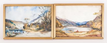 Ernest Holgate 1879-1927 Pair of Watercolours. Lake Scenes. Each painting is signed and mounted