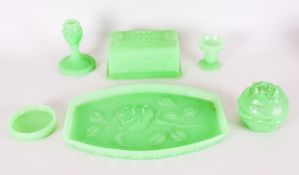 Czechoslovakia 1930s Green Moulded Glass Dressing Table Vanity Set, original ticket to base.