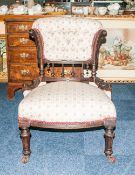Victorian Bedroom Chair, Carved Mahogany Frame, Padded Back Rest /and Seat, Raised On Short Turned
