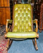 Mahogany Framed Chesterfield Rocker, Green Leather Button Back And Seat