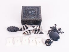 Lacquered Box Containing A Collection Of Jet & Mother Of Pearl, Jewellery Items And Buttons