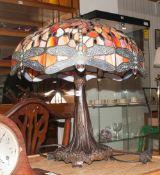 Art Deco Tiffany Style Mushroom Shaped Table Lamp shade decorated with cream, pink, amber/orange