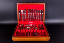 Wooden Cased Canteen Of Cutlery Community Stainless Steel.