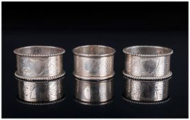Edwardian Pair of Silver Napkin Holders with Beaded Borders. Hallmark Chester 1904 + One Other