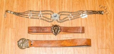 Three Various Belts comprising 2 leather an 1 Silverstone Beads